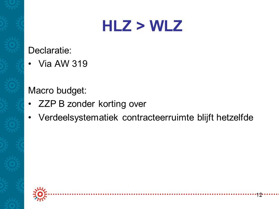 HLZ > WLZ Declaratie: Via AW 319 Macro budget: