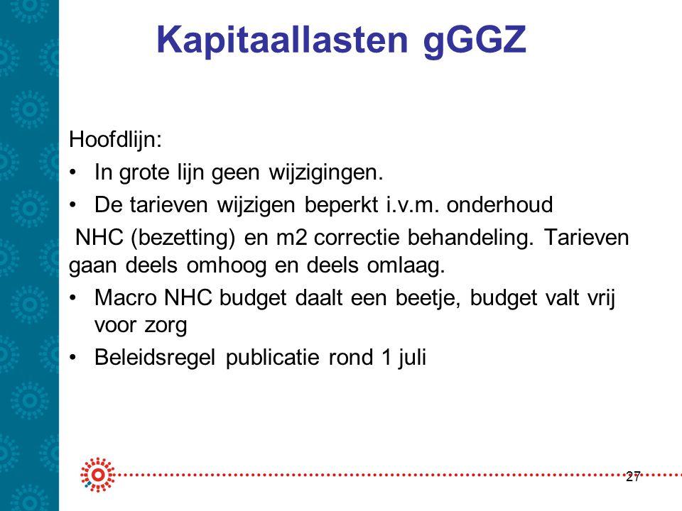 Kapitaallasten gGGZ Hoofdlijn: In grote lijn geen wijzigingen.