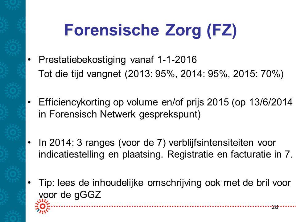 Forensische Zorg (FZ) Prestatiebekostiging vanaf 1-1-2016