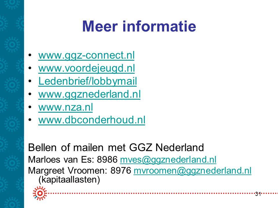 Meer informatie www.ggz-connect.nl www.voordejeugd.nl