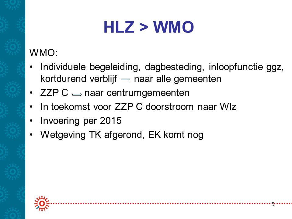 HLZ > WMO WMO: Individuele begeleiding, dagbesteding, inloopfunctie ggz, kortdurend verblijf naar alle gemeenten.