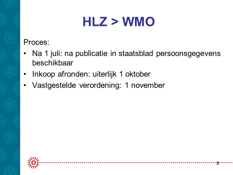 HLZ > WMO Proces: Na 1 juli: na publicatie in staatsblad persoonsgegevens beschikbaar. Inkoop afronden: uiterlijk 1 oktober.
