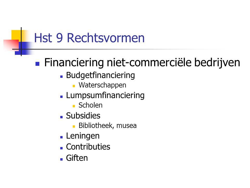 Hst 9 Rechtsvormen Financiering niet-commerciële bedrijven