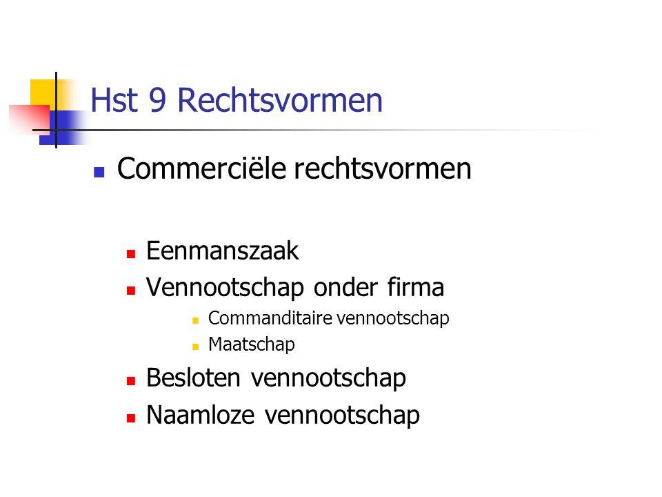 Hst 9 Rechtsvormen Commerciële rechtsvormen Eenmanszaak
