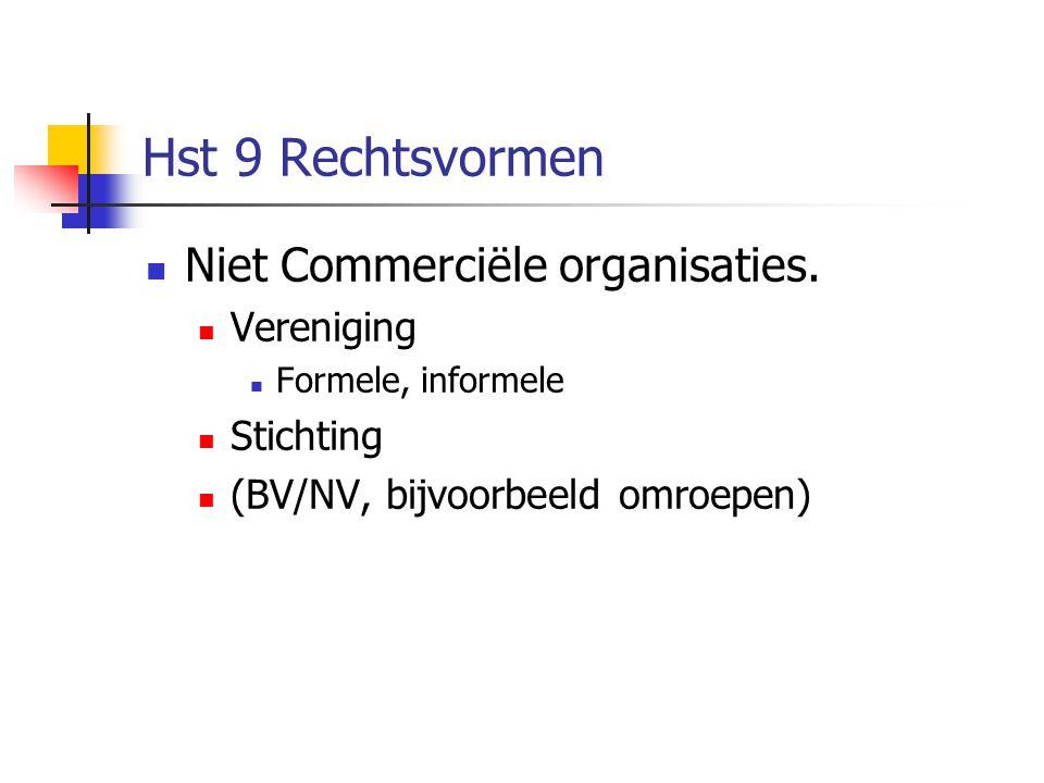 Hst 9 Rechtsvormen Niet Commerciële organisaties. Vereniging Stichting