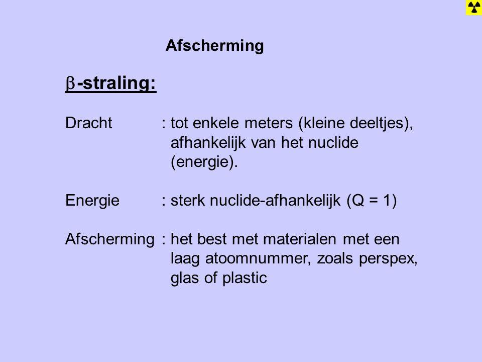 -straling: Afscherming Dracht : tot enkele meters (kleine deeltjes),