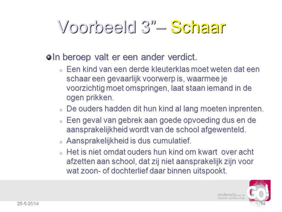 Voorbeeld 3 – Schaar In beroep valt er een ander verdict.