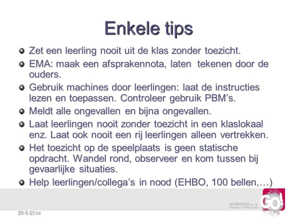 Enkele tips Zet een leerling nooit uit de klas zonder toezicht.