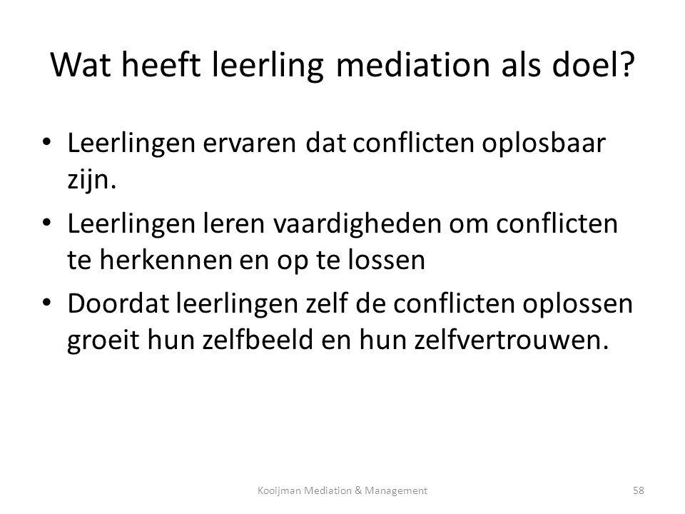 Wat heeft leerling mediation als doel