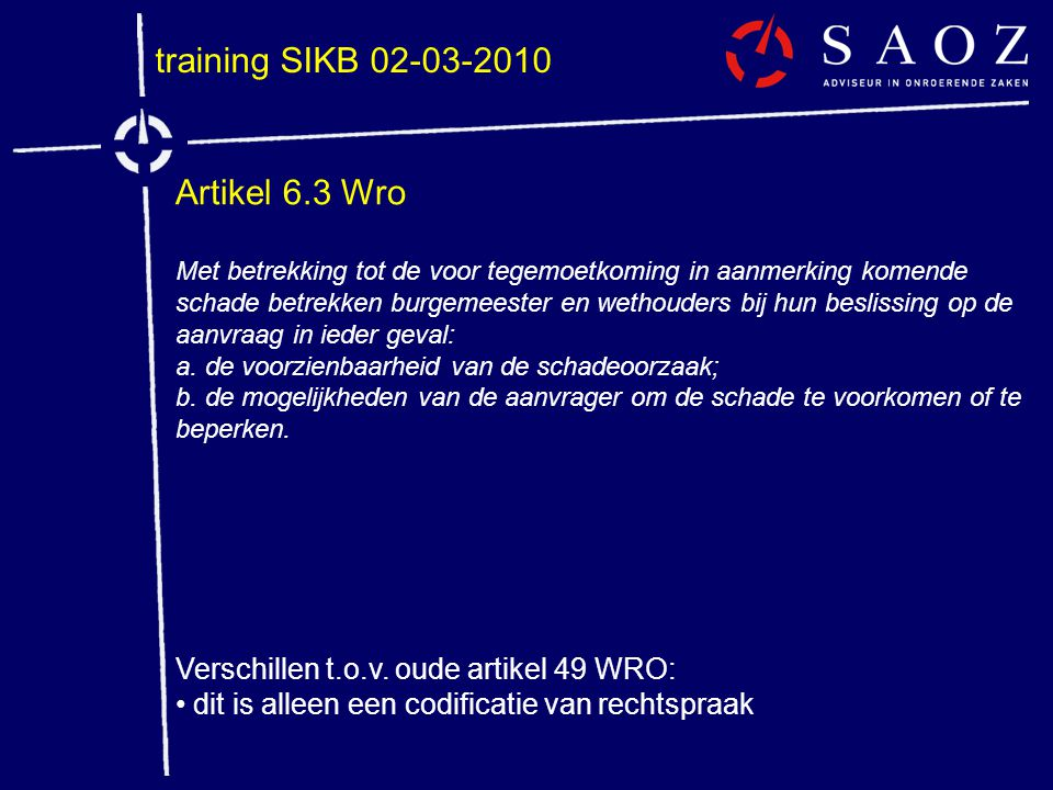 training SIKB 02-03-2010 Artikel 6.3 Wro