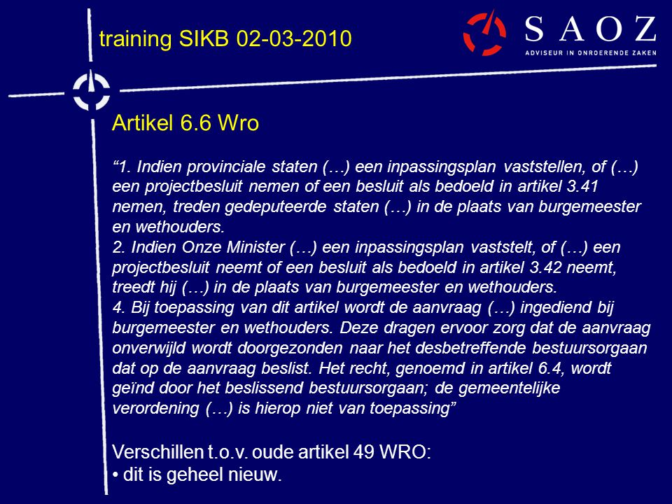 training SIKB 02-03-2010 Artikel 6.6 Wro