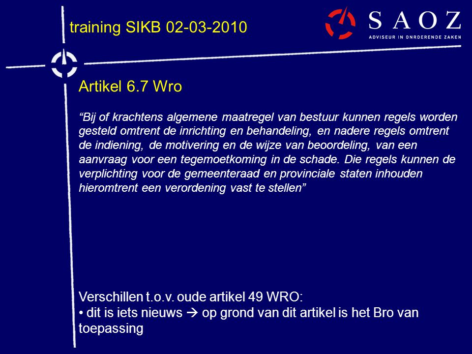 training SIKB 02-03-2010 Artikel 6.7 Wro