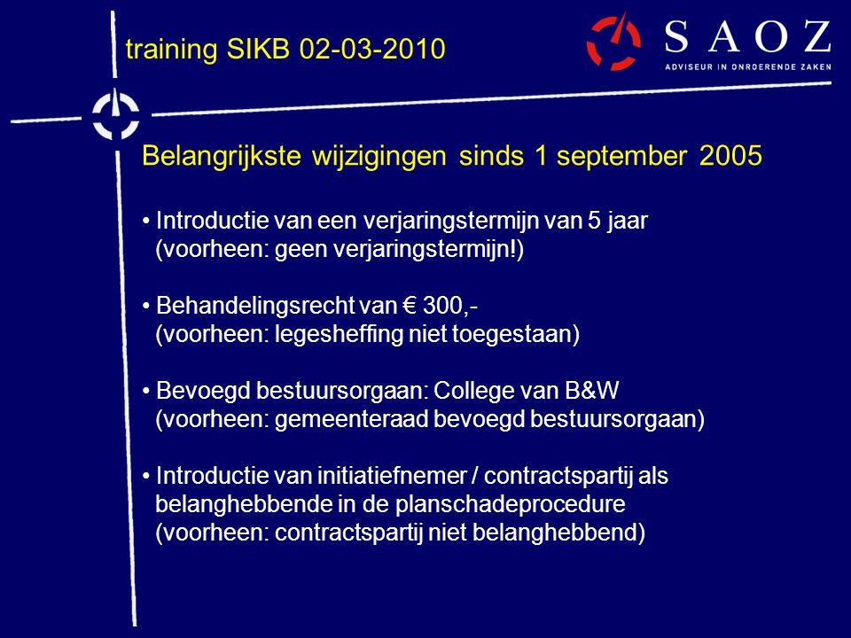 Belangrijkste wijzigingen sinds 1 september 2005