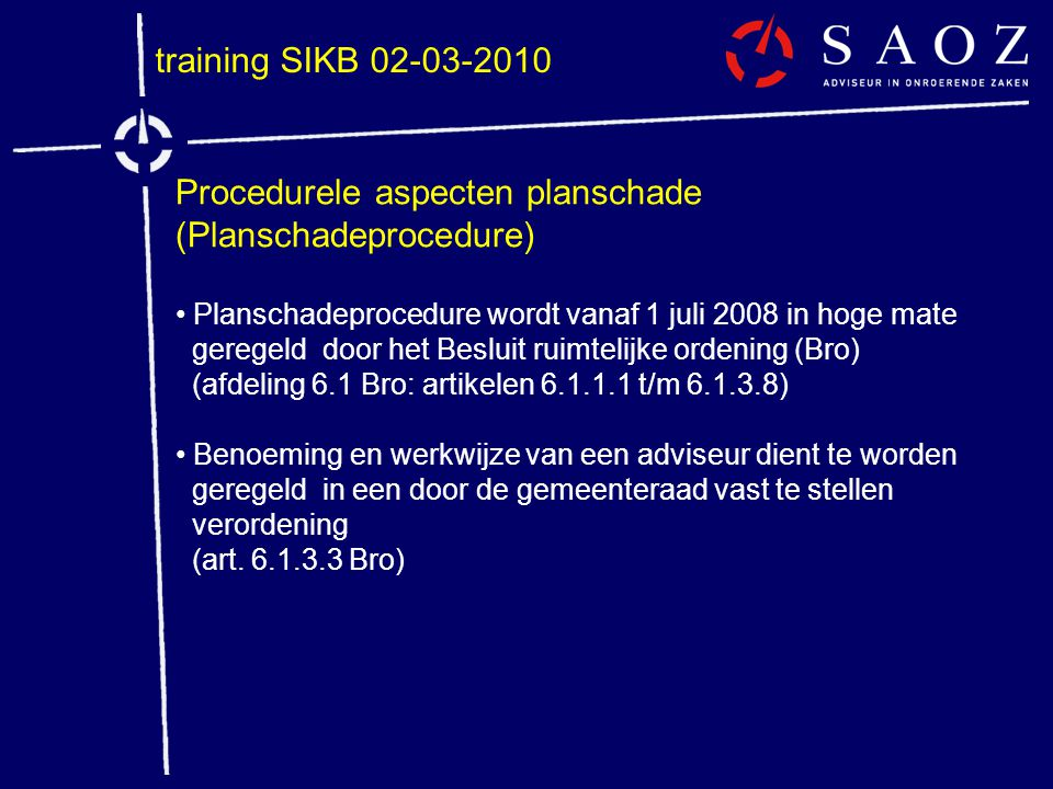 Procedurele aspecten planschade (Planschadeprocedure)