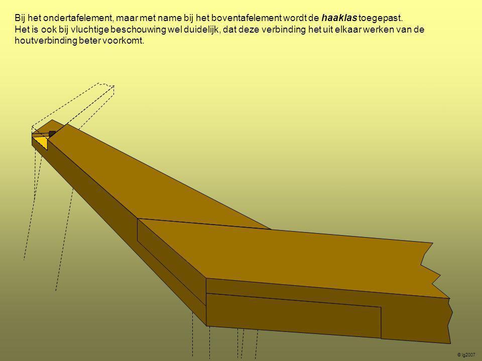 Bij het ondertafelement, maar met name bij het boventafelement wordt de haaklas toegepast.