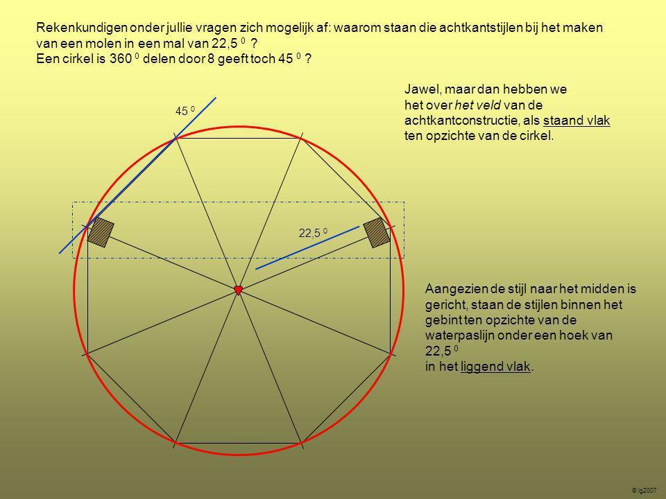 Een cirkel is 360 0 delen door 8 geeft toch 45 0