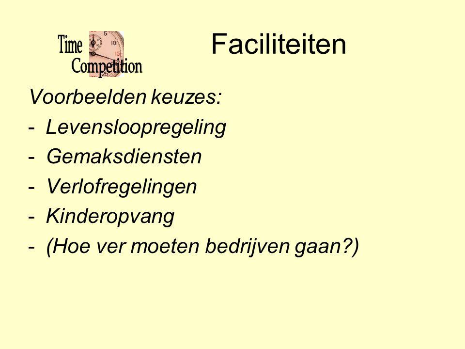 Faciliteiten Voorbeelden keuzes: Levensloopregeling Gemaksdiensten