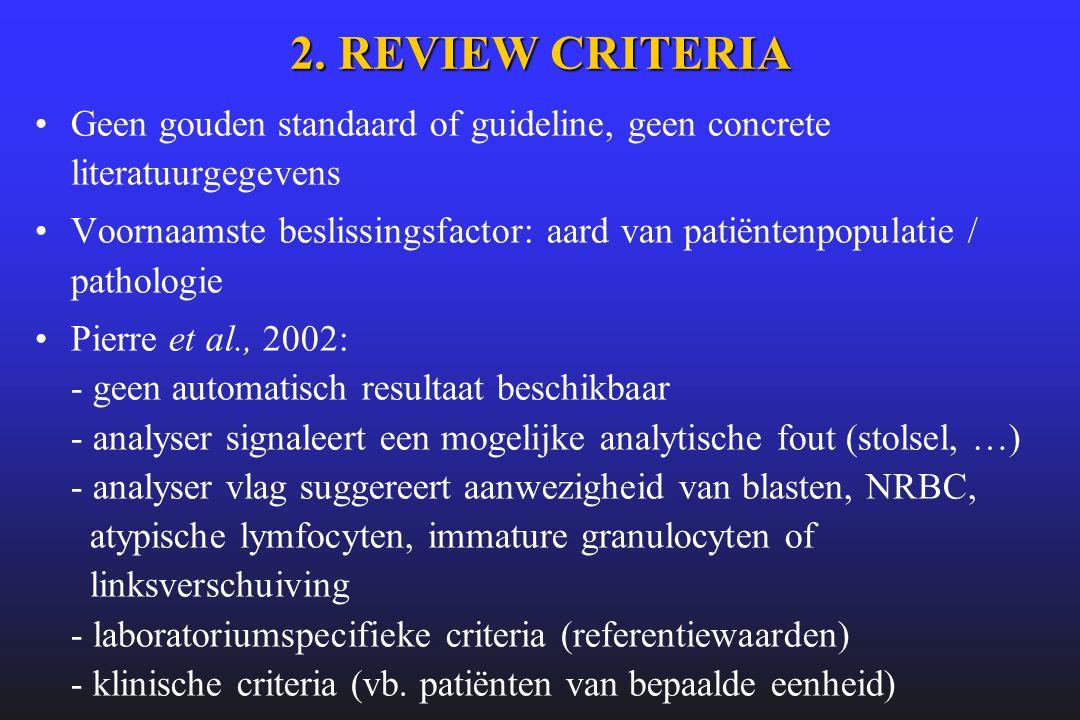 2. REVIEW CRITERIA Geen gouden standaard of guideline, geen concrete literatuurgegevens.