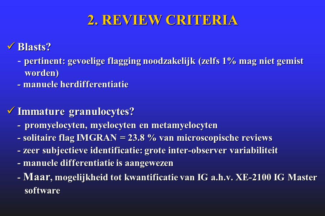 2. REVIEW CRITERIA Blasts - pertinent: gevoelige flagging noodzakelijk (zelfs 1% mag niet gemist worden) - manuele herdifferentiatie.
