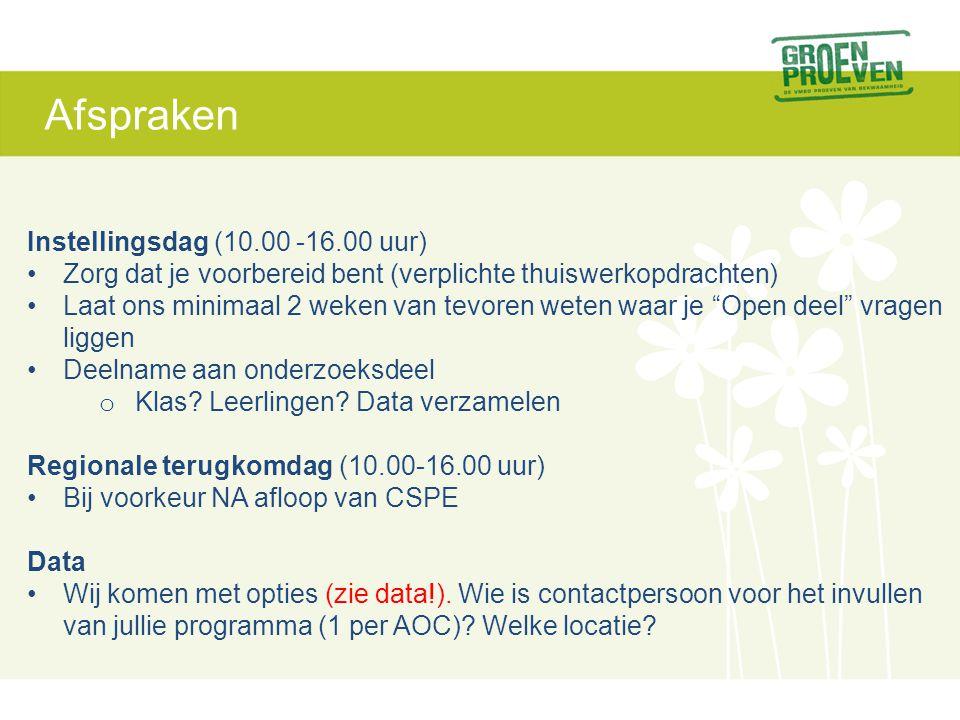 Afspraken Instellingsdag (10.00 -16.00 uur)