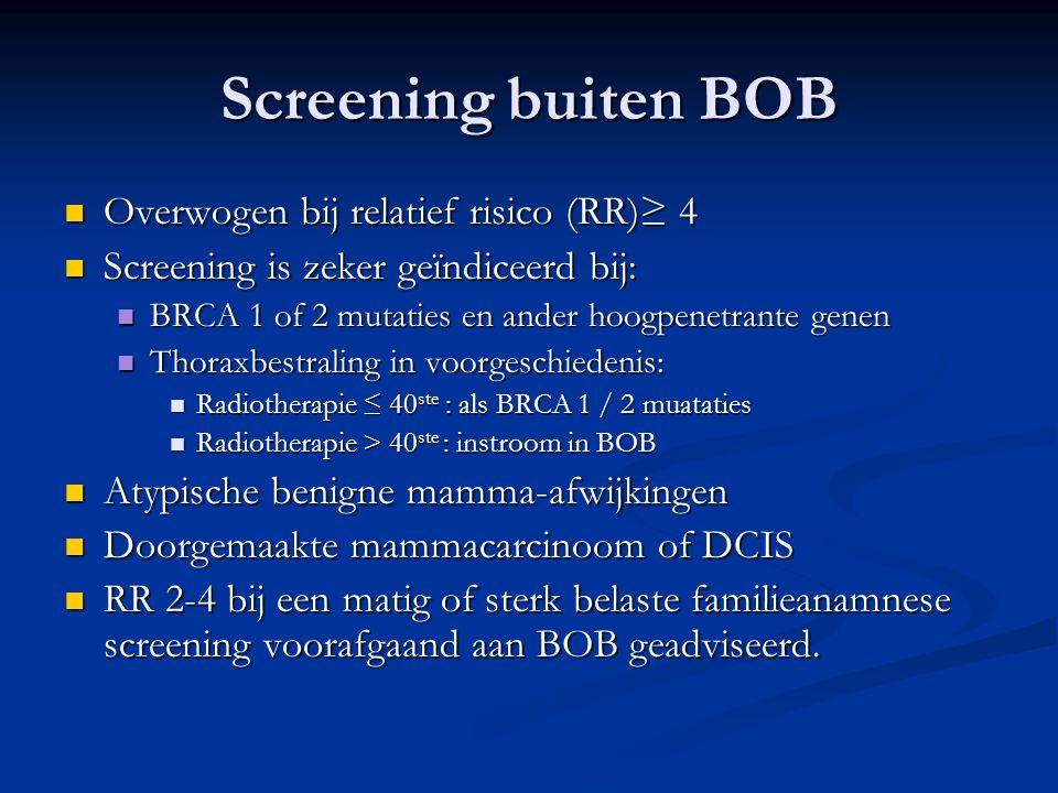 Screening buiten BOB Overwogen bij relatief risico (RR)≥ 4