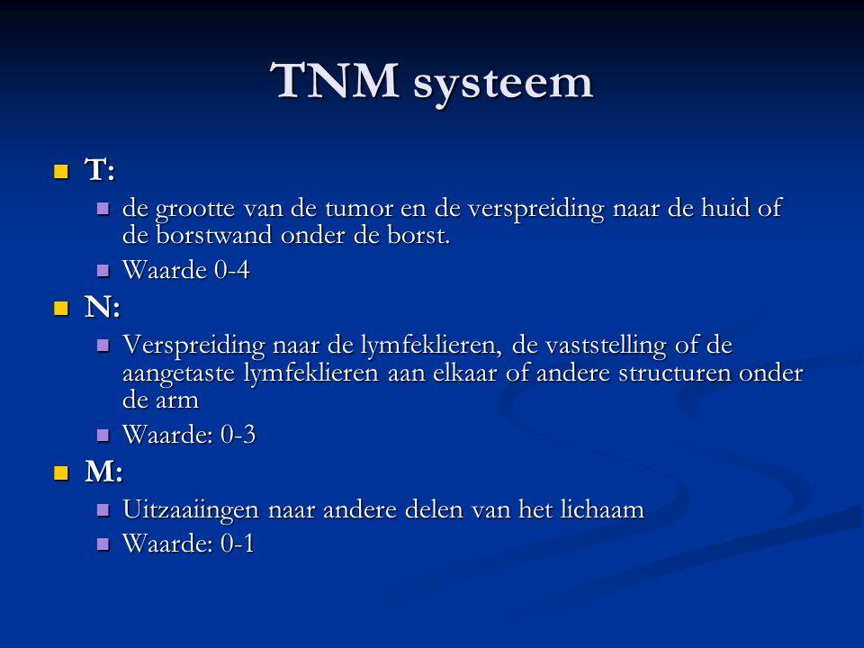 TNM systeem T: de grootte van de tumor en de verspreiding naar de huid of de borstwand onder de borst.