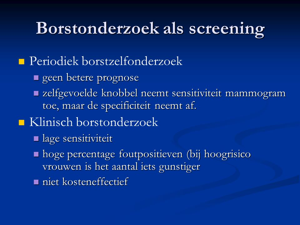 Borstonderzoek als screening