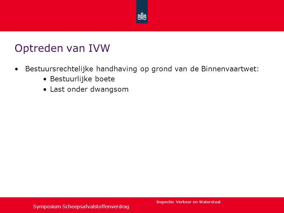 Optreden van IVW Bestuursrechtelijke handhaving op grond van de Binnenvaartwet: Bestuurlijke boete.