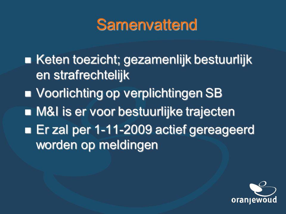 Samenvattend Keten toezicht; gezamenlijk bestuurlijk en strafrechtelijk. Voorlichting op verplichtingen SB.