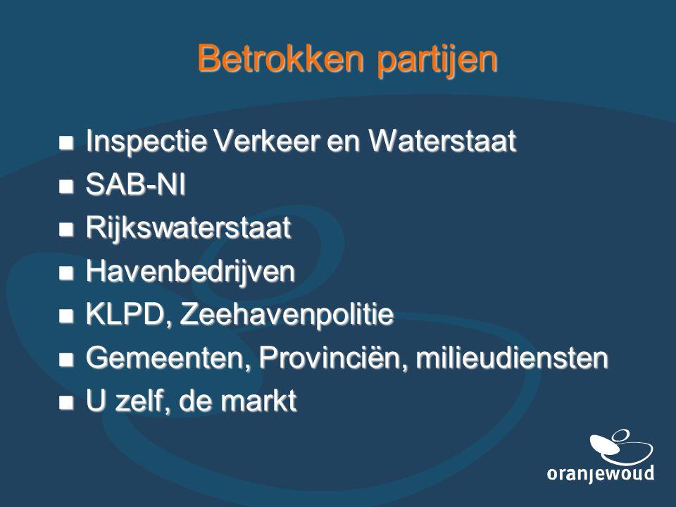 Betrokken partijen Inspectie Verkeer en Waterstaat SAB-NI