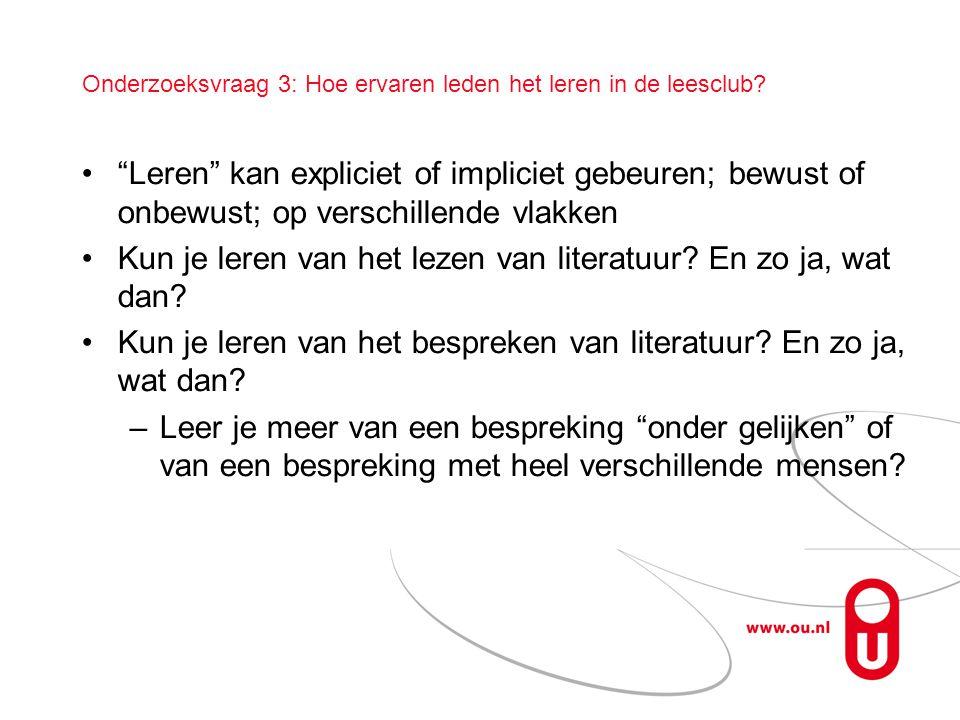 Onderzoeksvraag 3: Hoe ervaren leden het leren in de leesclub