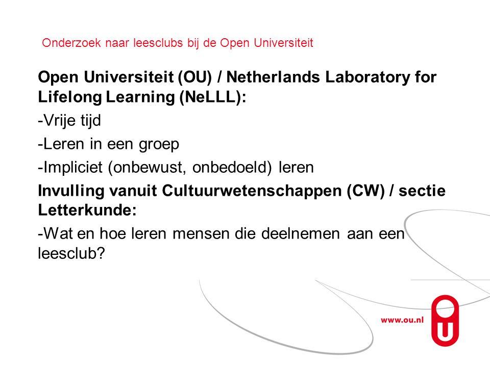 Onderzoek naar leesclubs bij de Open Universiteit