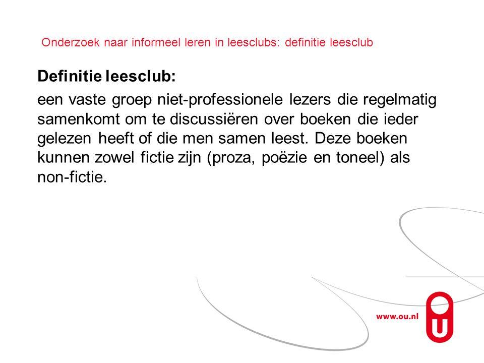 Onderzoek naar informeel leren in leesclubs: definitie leesclub