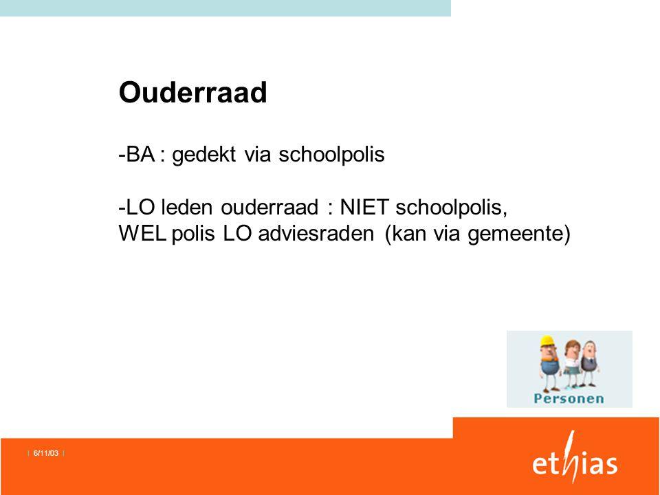Ouderraad -BA : gedekt via schoolpolis