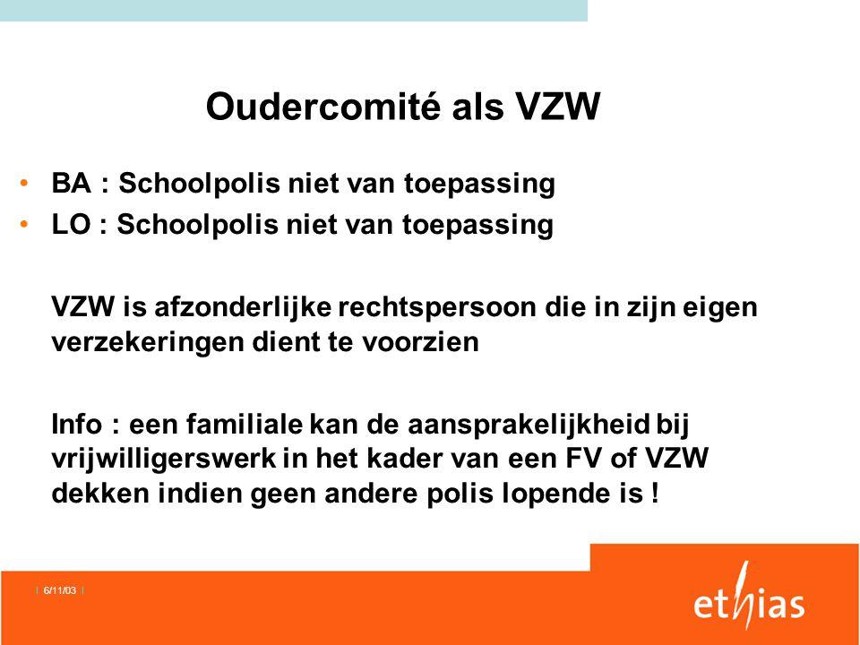 Oudercomité als VZW BA : Schoolpolis niet van toepassing