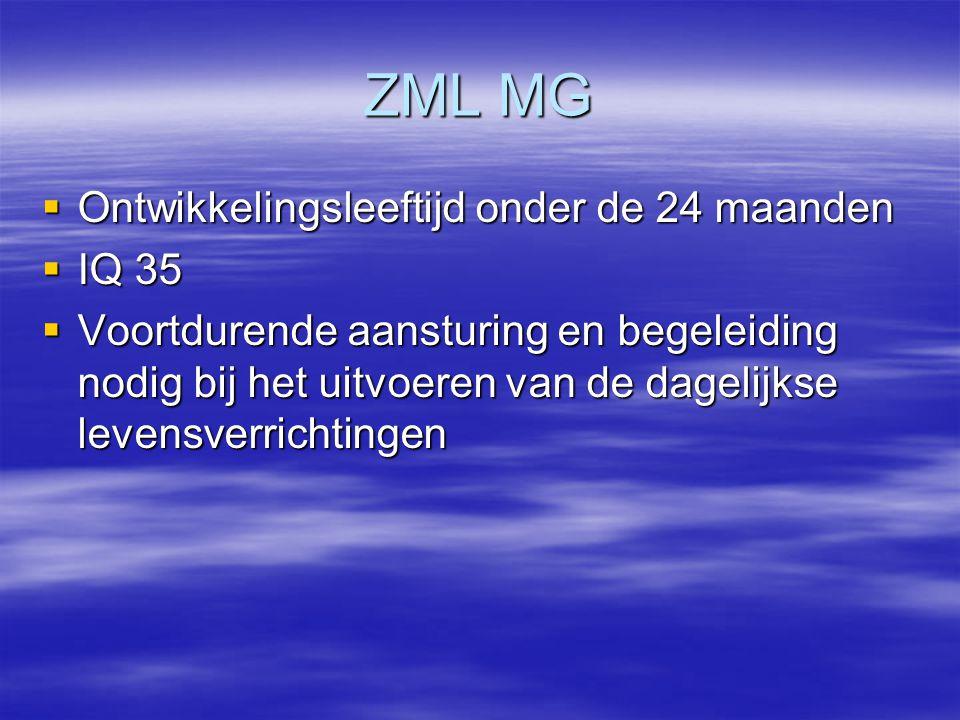 ZML MG Ontwikkelingsleeftijd onder de 24 maanden IQ 35