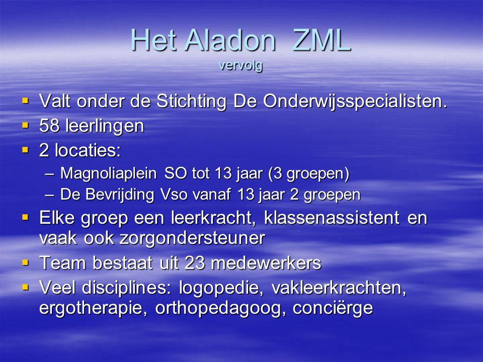 Het Aladon ZML vervolg Valt onder de Stichting De Onderwijsspecialisten. 58 leerlingen. 2 locaties: