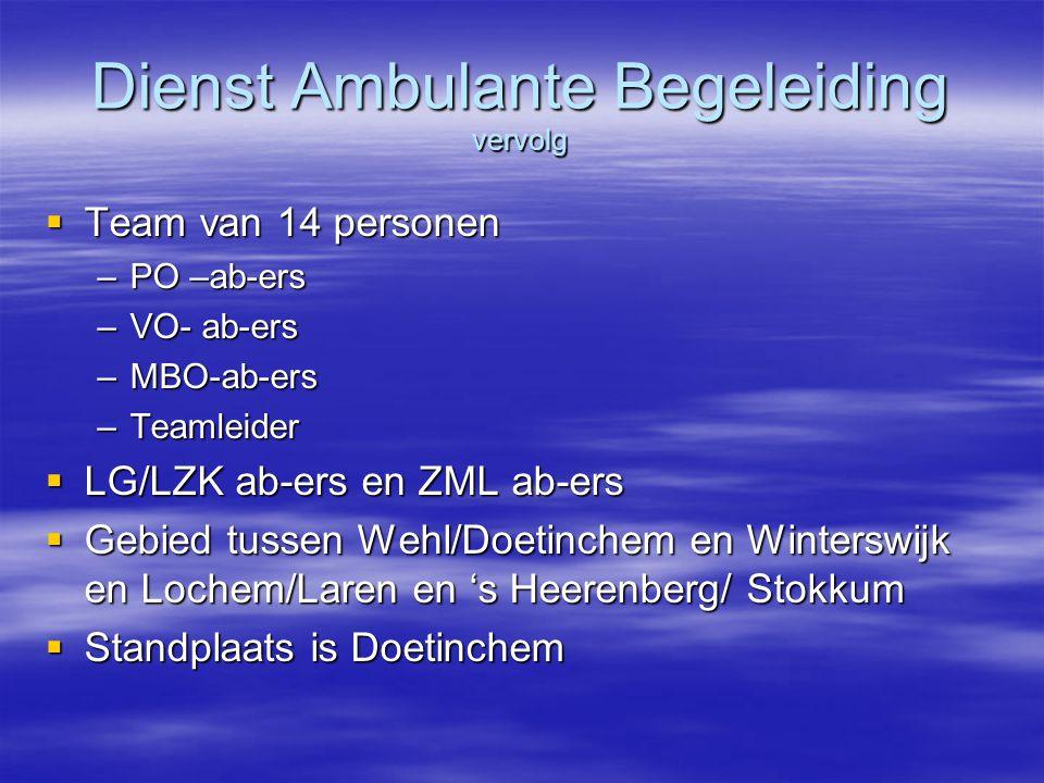 Dienst Ambulante Begeleiding vervolg