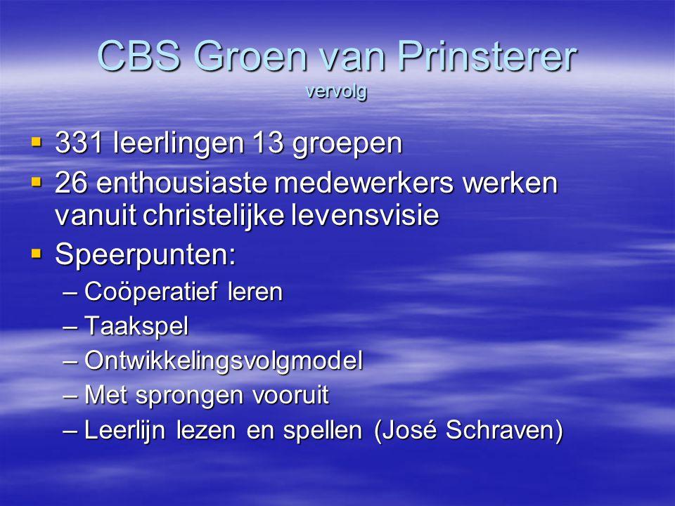 CBS Groen van Prinsterer vervolg
