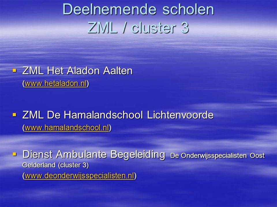 Deelnemende scholen ZML / cluster 3
