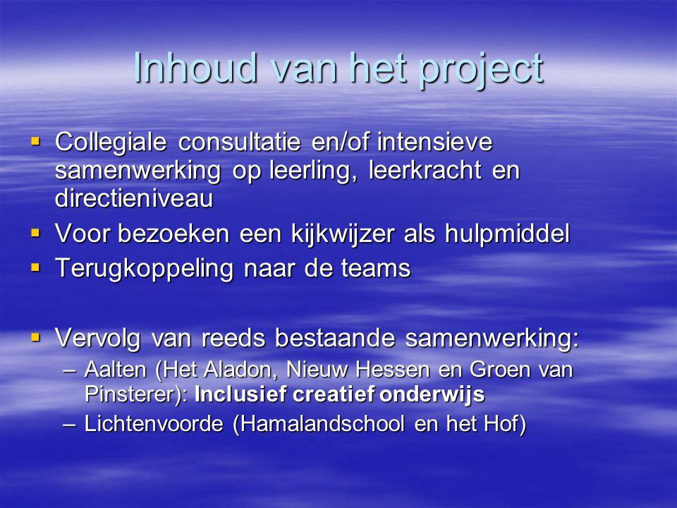 Inhoud van het project Collegiale consultatie en/of intensieve samenwerking op leerling, leerkracht en directieniveau.