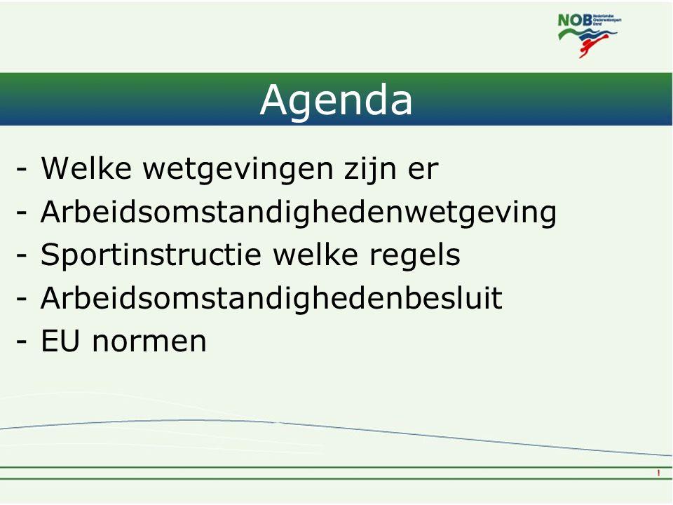 Agenda Welke wetgevingen zijn er Arbeidsomstandighedenwetgeving