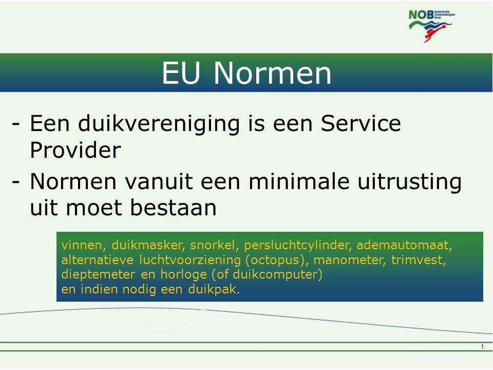 EU Normen Een duikvereniging is een Service Provider