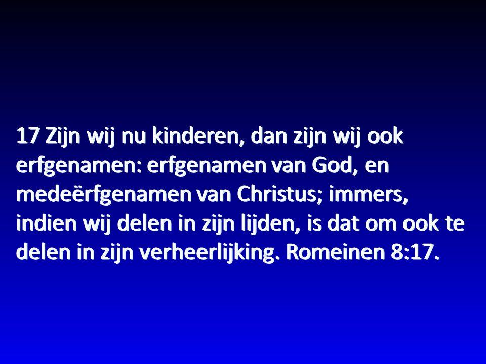 17 Zijn wij nu kinderen, dan zijn wij ook erfgenamen: erfgenamen van God, en medeërfgenamen van Christus; immers, indien wij delen in zijn lijden, is dat om ook te delen in zijn verheerlijking.