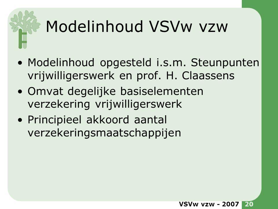 Modelinhoud VSVw vzw Modelinhoud opgesteld i.s.m. Steunpunten vrijwilligerswerk en prof. H. Claassens.
