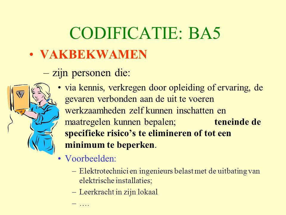 CODIFICATIE: BA5 VAKBEKWAMEN zijn personen die: