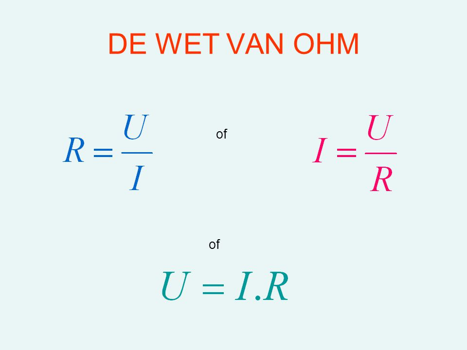 DE WET VAN OHM of of