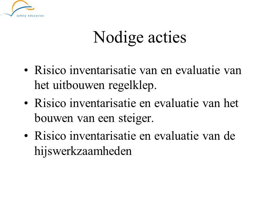 Nodige acties Risico inventarisatie van en evaluatie van het uitbouwen regelklep. Risico inventarisatie en evaluatie van het bouwen van een steiger.