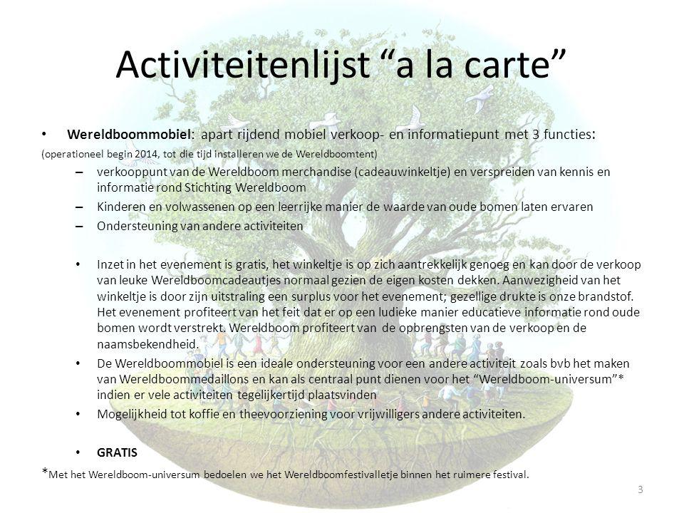 Activiteitenlijst a la carte