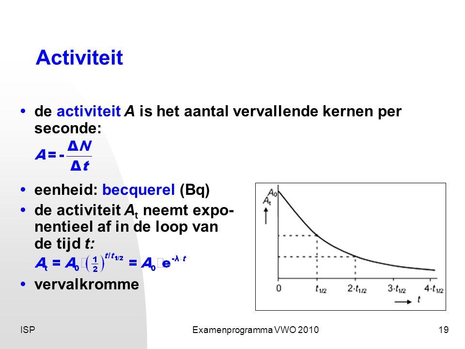 Activiteit • de activiteit A is het aantal vervallende kernen per seconde: • eenheid: becquerel (Bq)